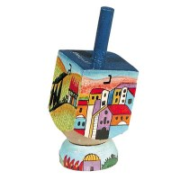 Yair Emanuel Small Painted Dreidel With Stand - Jerusalem Vista