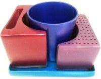Yair Emanuel Nickel Hammered Havdallah Set - Multicolor