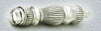 "Challah Knife Silver 925 Serrated Blade Stripe Design Handle 13"""