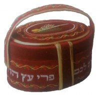 Esrog Box Velvet with Handle Holiday Design