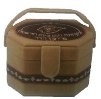 Esrog Box Brown Suede with Design and Handle