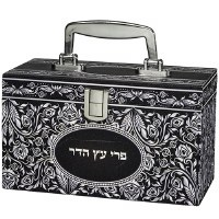 Esrog Box Silver Colored Floral Design with Handle