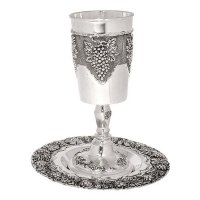 Kos Shel Eliyahu with Matching Saucer Nickel Clustered Grape Design 17 oz