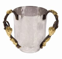 Yair Emanuel Hammered Stainless Steel Washing Cup Designed with Gold Grapes on Vines Handles