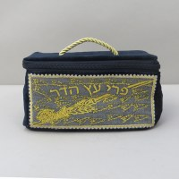 Velvet Etrog Box with Handle Embroidered Design Blue