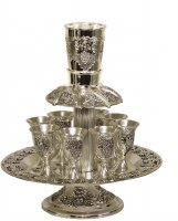 Silver Plated 8 Cup Wine Fountain Grape Design