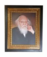 Framed Picture of Rav Elyashiv on Canvas Black and Gold Frame