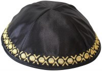 Yarmulka Circles Black Satin
