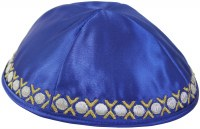 Yarmulka Circles Royal Blue Satin