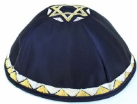 Yarmulka Navy Satin Designed with Magen David on Top