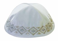 White Satin Yarmulka Diamond Pattern