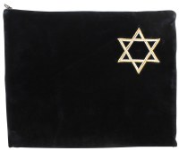 Tefillin Bag Black Velvet Star of David Silver and Gold Embroidery