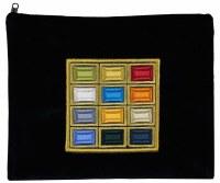 Tallis Bag Navy Velvet Designed with Colorful Embroidered Choshen