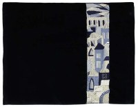 Tallis Bag Moryah Navy Velvet Silver Embroidery Side Jerusalem Pattern
