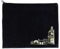 Tefillin Bag Pinat Jerusalem Black Velvet with Silver and Gold Embroidery