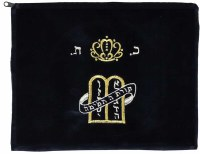 Tefillin Bag Navy Velvet Embroidered with Silver and Gold Crown and Luchos Design