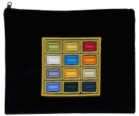 Tefillin Bag Choshen Navy Velvet with Colorful Embroidery