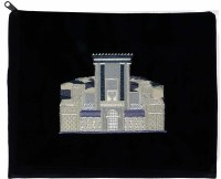 Tefillin Bag Heichal Navy Velvet with Royal Blue and Silver Embroidery