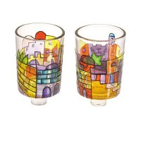 Yair Emanuel Multicolored Jerusalem Painted Glass Candle Holder Pair