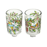 Yair Emanuel Flying Birds and Branches Painted Glass Candle Holder Pair
