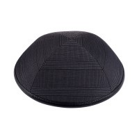 iKippah Grey Plaid with Black Leather Rim Size 4
