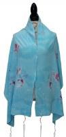 "Women Tallis Silk Turquoise with Butterflies 20"" X 72"""