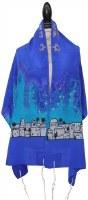 """Women Tallis Jerusalem Design Silk Blue 20"""" X 72"""""""