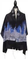 "Women Tallis Jerusalem Design Silk Midnight 20"" X 72"""