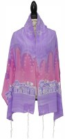"Women Tallis Jerusalem Design Silk Lavender Pink 20"" X 72"""