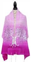 "Women Tallis Tree Design Silk Pink Gradient 20"" X 72"""