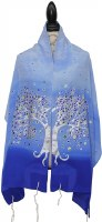 "Women Tallis Tree Design Silk Blue Gradient 20"" X 72"""