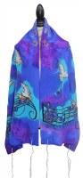 """Women Tallis Musical Design Silk Blue and Purple 20"""" X 72"""""""