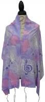 "Women Tallis Musical Design Silk Lavender Pink 20"" X 72"""