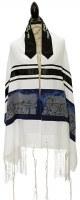"Tallis Viscose Navy Jerusalem Design 20"" X 72"""