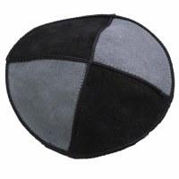 Clip Kippah Grey and Black Small