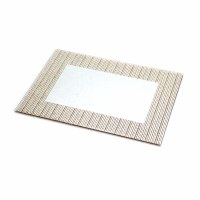 "Glass Mirror Tray Gold Stripes Border  14"" x 10"""