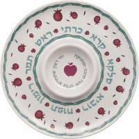 Simanim Plate Melamine Pomegranate Design with Center Circle 12""
