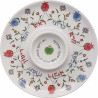 Simanim Plate Melamine Colored  Pomegranate Design with Center Circle 12""