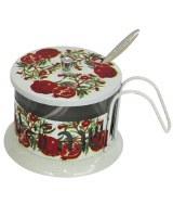 Honey Dish Aluminum Pomegranate Design with Base and Handle