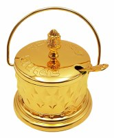 Honey Dish with Handle Includes Glass Insert and Spoon Gold Color
