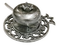 Honey Dish Pewter Carved Out Design