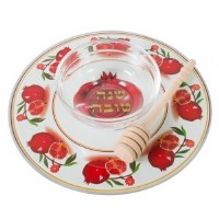 Serving Set for Apple and Honey with Dipper Reinforced Glass