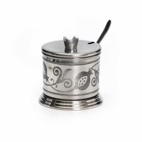 Honey Dish Silver Color Pomegranate Shape and Design with Cover and Spoon