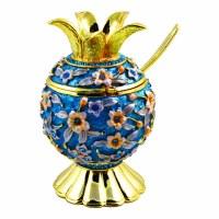 Honey Dish Pomegranate Shape Blue Base Jeweled with Turquoise Crystals