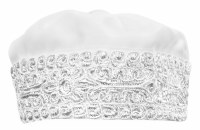 Hoibel Kippa Chazzan Hat White with Silver Trim 57cm