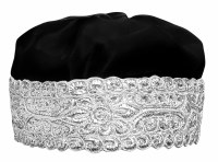 Hoibel Kippa Chazzan Hat Black with Silver Trim 57cm