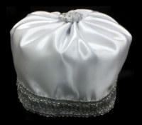 "Hoibel Kippa Chazzan Hat White with Silver Trim 7.25"""