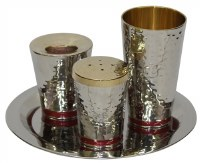 Havdallah Set Nickel Plated Hammered Design with Red Strip 4 Piece Set