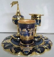 Havdallah Set 4 Piece Jerusalem Navy and Gold Design