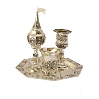 Havdallah Set 4 Piece Silver Plated Pearl Design